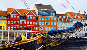 Norwegian Cruise Line Colorful houses in Copenhagen, Denmark
