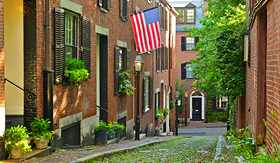 Norwegian Cruise Line historic Acorn Street in Beacon Hill