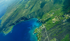 Norwegian Cruise Line Kealakekua Bay Big Island aerial shot Hawaii
