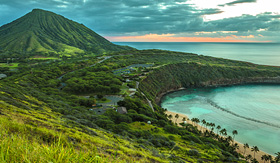 Norwegian Cruise Line Koko head crater and Hanauma Bay at dawn on Oahu Hawaii