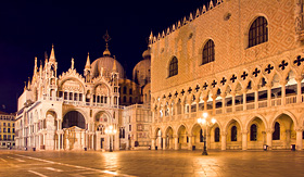 Norwegian Cruise Line night view of San Marco with Doge Palace Venice Italy