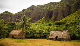Norwegian Cruise Line Straw Structures at Kualoa Ranch