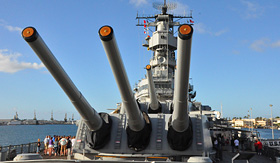 Norwegian Cruise Line USS Missouri Battleship at Pearl Harbor in Hawaii