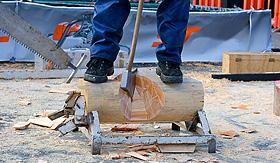 Norwegian Cruise Line wood chopping competition lumberjack show