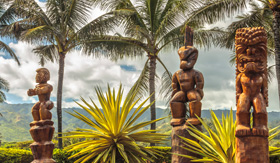 Norwegian Cruise Line Wooden Polynesian tiki carvings on Oahu Hawaii