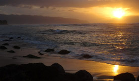 Sunset over Oahu Beach