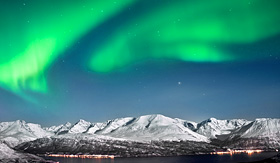Oceania Cruises beautiful aurora above Fjords Norway