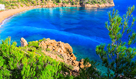Oceania Cruises beautiful small bay in Ibiza Spain