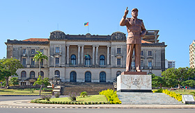Oceania Cruises city hall and statue of Michel Samora in Maputo Mozambique