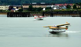 Oceania Cruises floatplanes near Ketchikan Alaska