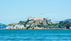Alcatraz Island surrounded by blue water