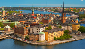 Oceania Cruises panoramic view on the old city of Stockholm classical skyline