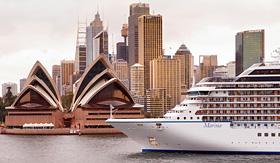 Oceania Cruises ship passing the Sydney Opera House