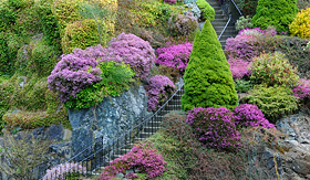 Oceania Cruises stairway in Butchart Gardens Vancouver British Columbia Canada