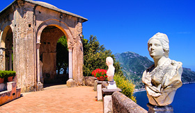 Oceania Cruises statue lined terrace at Ravello Amalfi Coast Italy