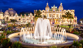 Oceania Cruises the Monte Carlo casino at night