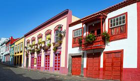 Paul Gauguin Santa Cruz de La Palma colonial flowers house facades in Canary Islands
