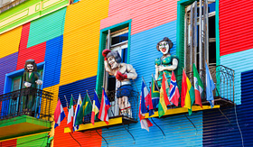 Princess Cruises a colorful building in La Boca neighborhood of Buenos Aires