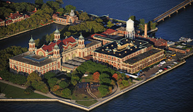 Princess Cruises aerial view of Ellis Island New York