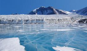 Flat blue glacier in Antarctica