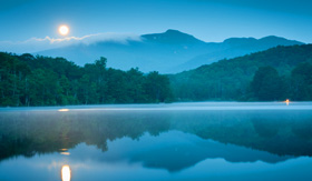 Princess Cruises Blue Ridge Grandfather Mountain Price Lake full moon set reflection