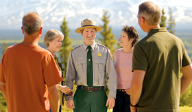 Princess Cruises group of tourist with Park Ranger in Denali National Park