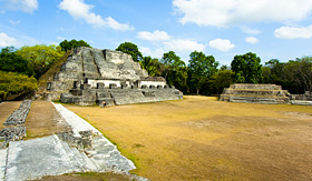 Princess Cruises oblique view of the Altun Ha Mayan Temple in Belize