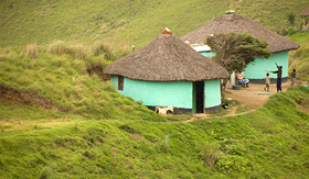 Princess Cruises rural huts in South Africa with children playing