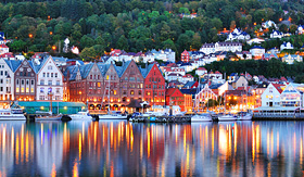 Princess Cruises scenery of Bryggen in Bergen, Norway