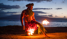 Princess Cruises tahitian dance at night by a samoan dancer in Maui