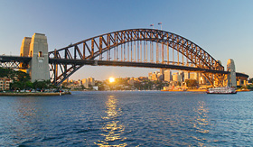 Princess Cruises view of the Sydney Harbour Bridge at sunset