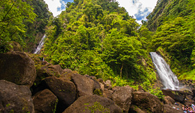 Princess Cruises waterfall in Dominica, Caribbean