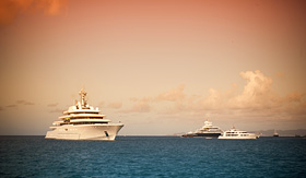 Regent Seven Seas Cruises yachts anchored outside Gustavia on St. Barts
