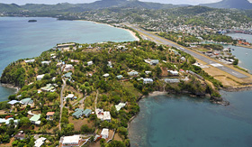 Regent Seven Seas Cruises aerial shot of Castries the capital of St. Lucia