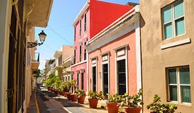 Regent Seven Seas Cruises colorful alley in Old San Juan Puerto Rico