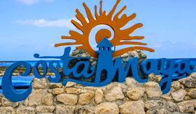 Costa Maya Blue Sign at Beach - Regent Seven Seas Cruises