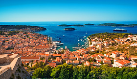 Regent Seven Seas Cruises harbor of old adriatic island town Hvar