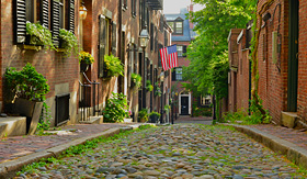 Regent Seven Seas Cruises historic Acorn Street in Beacon Hill is one of the most picturesque street in the United States
