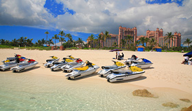 Regent Seven Seas Cruises jetskis on Paradise Island beach of Atlantis, Nassau, Bahamas