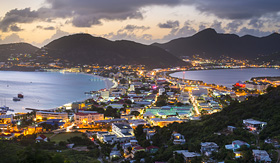 Regent Seven Seas Cruises Philipsburg Sint Maarten at sunset