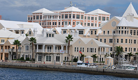 Regent Seven Seas Cruises view of downtown Hamilton in Bermuda