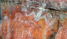Royal Caribbean Aboriginal rock art at Nourlangie Kakadu National Park Australia