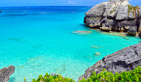 Royal Caribbean beautiful Bermuda coastline with rocks