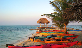 Royal Caribbean Belize beach with kayaks