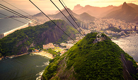 Royal Caribbean cable car approaching Sugarloaf Mountain Rio de Janeiro Brazil