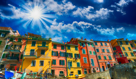 Royal Caribbean Cinque Terre Beautiful View of the Port with Boats and Colourful Homes