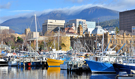 Royal Caribbean fishing boats in Hobart harbour
