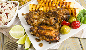 Royal Caribbean jerk chicken and grilled pineapple caribbean cooking