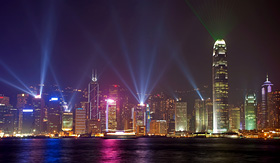 Royal Caribbean symphony of lights show in Hong Kong China