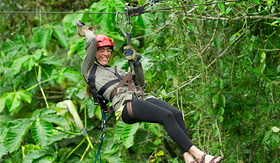 Royal Caribbean zip lining adventure in rainforest canopy